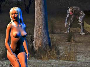 Sexy White Haired Babe Left In The Woods With Nothing But A Monster To Suck