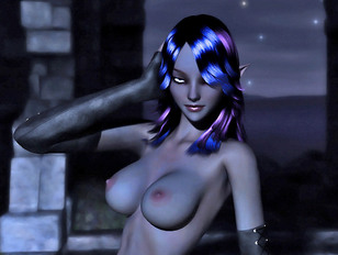 Blue Haired Night Elf Babe With Perfect Thin Body