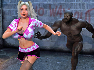 3d porno monster is chasing some gal in sluty outfit