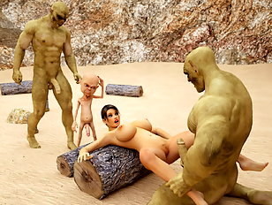 Monster semen fills up Lara Croft during an evil gangbang