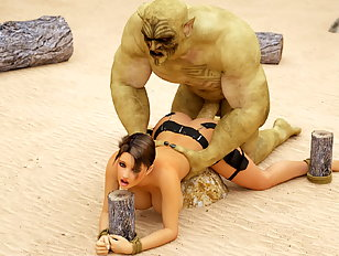 Deep anal pumping with Evil ogre who loves Lara's 3D ass