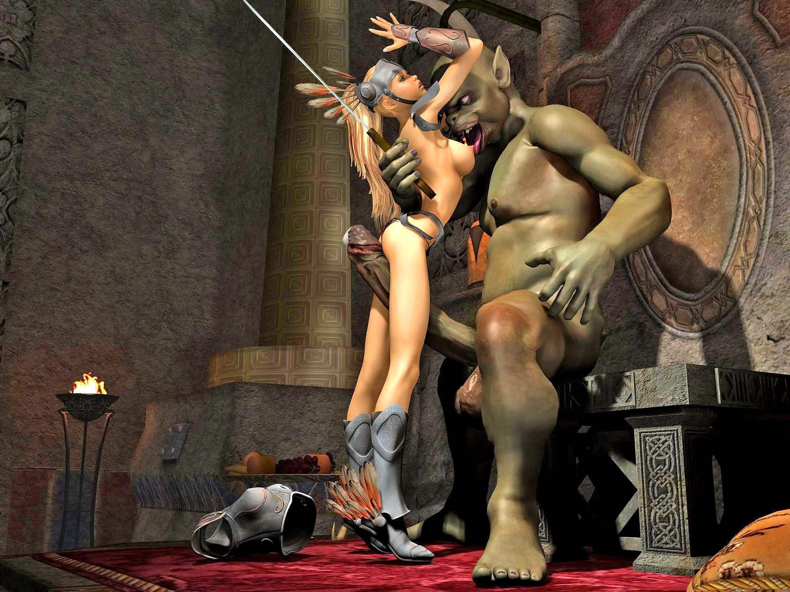 Erotic warrior women capture males sexy toons